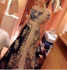NAVY BLUE DASHING LEHENGA CHOLI WITH DUPATTA -  LC_BP_109