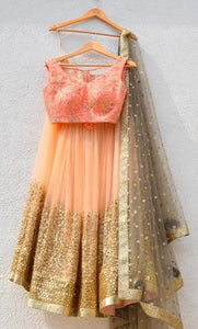 PEACH IMPRESSIVE SEMI-STITCHED LEHENGA CHOLI WITH DUPATTA - LC_SF_128