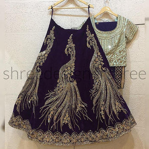 BLACK PEACOCK DESIGNE LEHENGA CHOLI WITH DUPATTA  -LC_SF_156