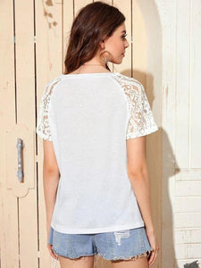 Contrast Sequin Lace Sleeve Tee