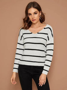 Striped Twist Back Ribbed Knitt