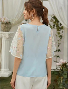 Contrast Embroidered Mesh Sleeve Blouse