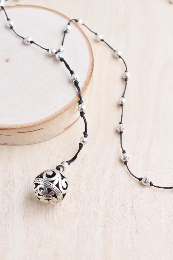 Bali Queen Alloy Filigree Ball Necklace
