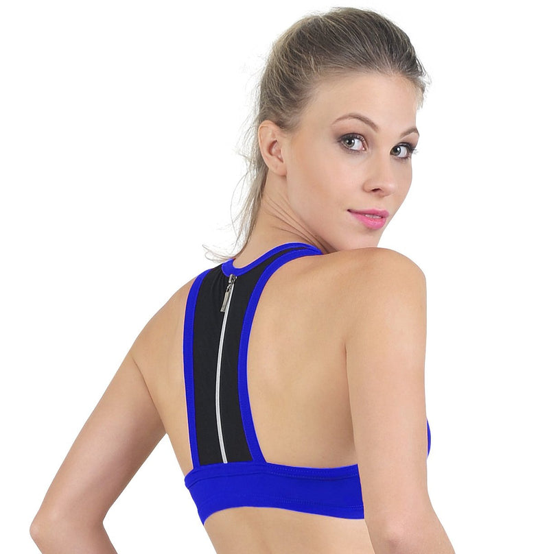 Bia Brazil Padded Sports Bra with Zippered Mesh Back BT3358 Royal