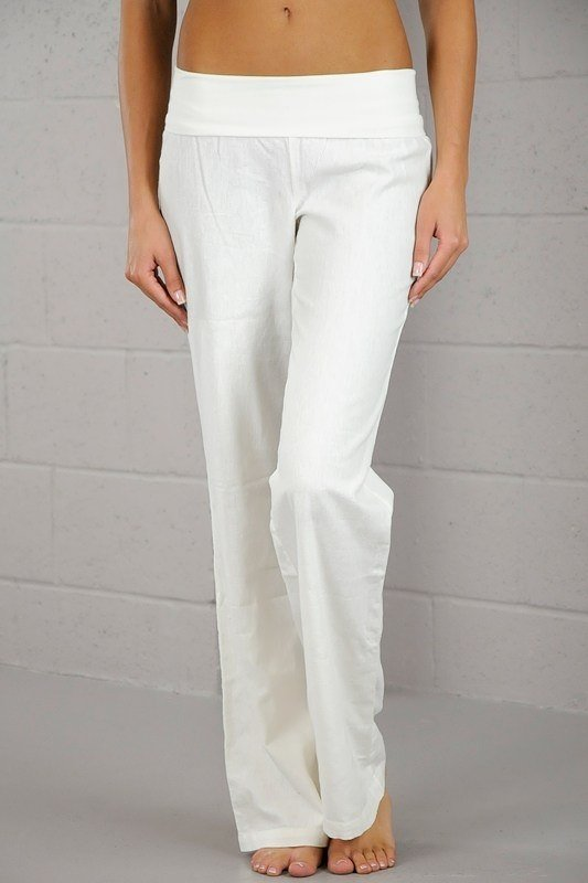 Love Tree Fold Over Linen Pants 093200 White