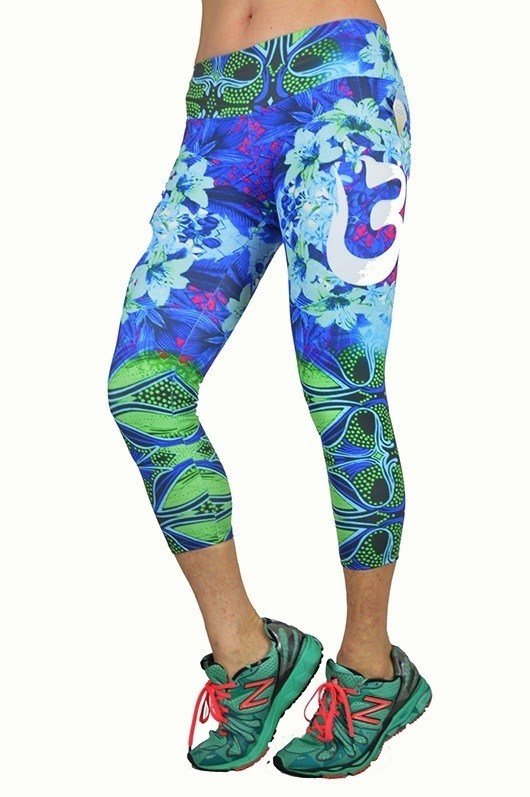 FINAL SALE! Blue OM Printed Capris by Shape Up