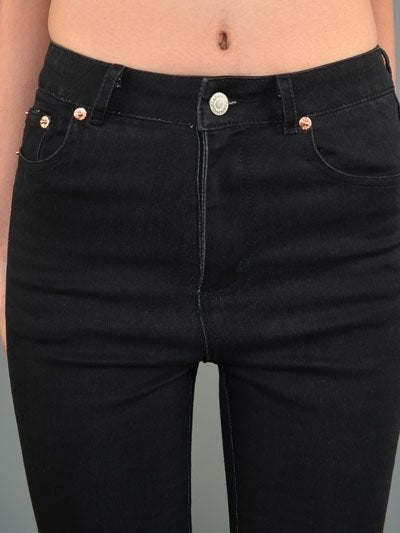 Final Sale!  Signature 8 High Waisted Ankle Skinny Jean IP309 Black