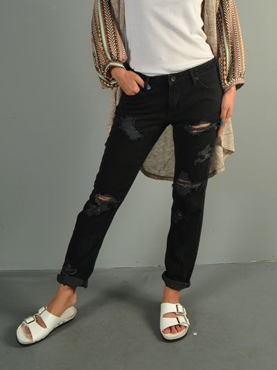 Final Sale! Signature 8 Destroyed Boyfriend Jeans IP629B Black