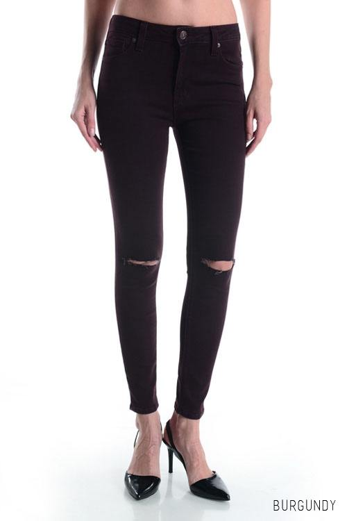 "Final Sale ""Just Black"" Split Knee Over Dye Jean BP1034 Burgundy"