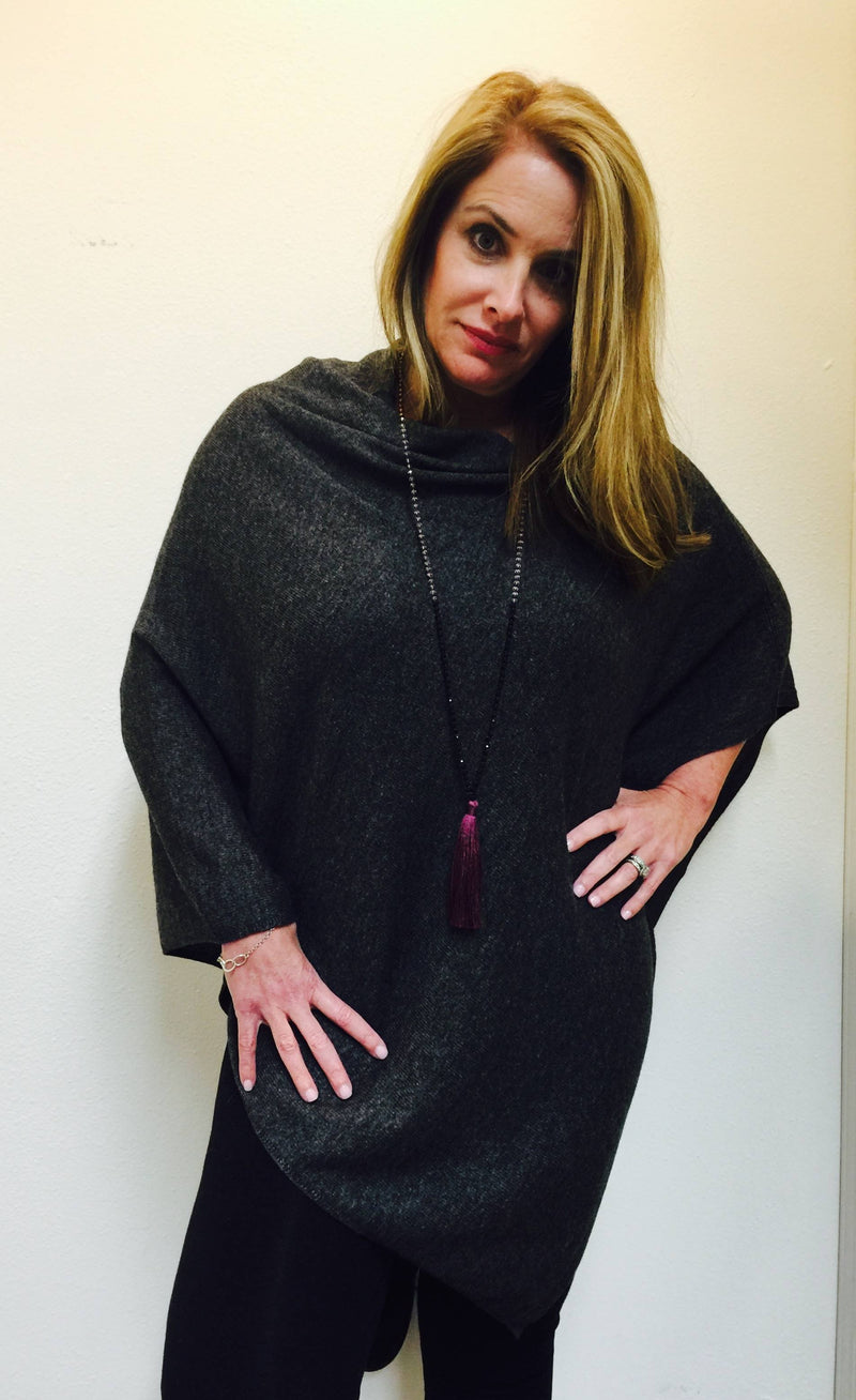 FINAL SALE Cashmere Poncho from Nepal Charcoal