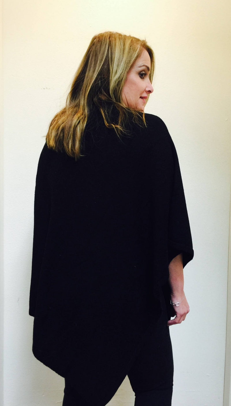 FINAL SALE Cashmere Poncho from Nepal Black