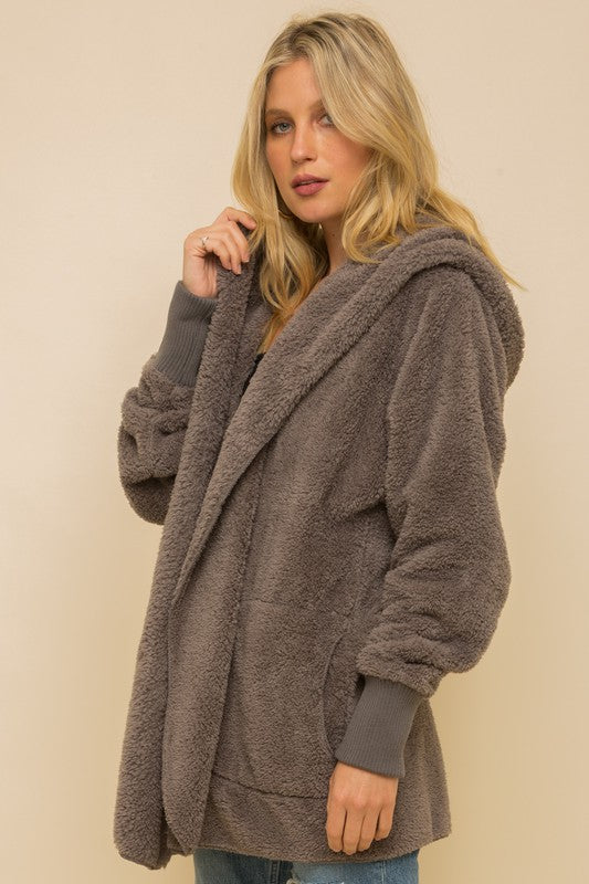 Hem & Thread Fuzzy knit open front, hooded cardigan with pockets L2394