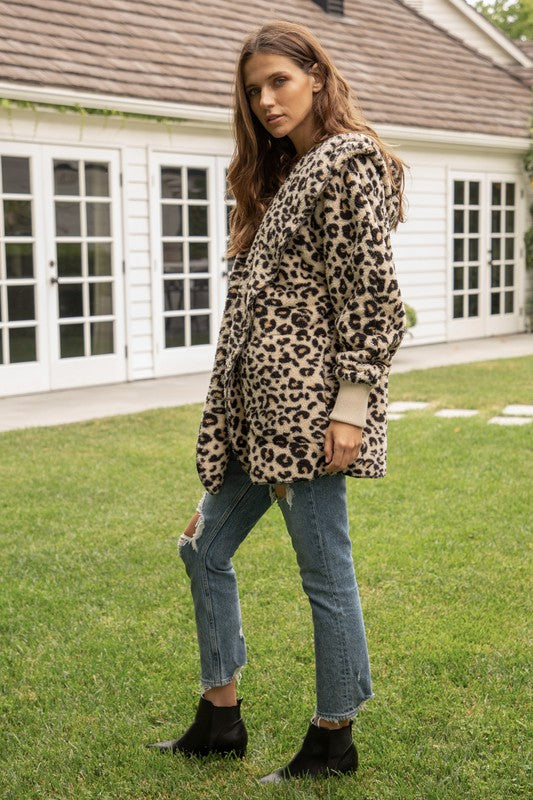 Hem & Thread Fuzzy Leopard open front, hooded cardigan with pockets 8432F