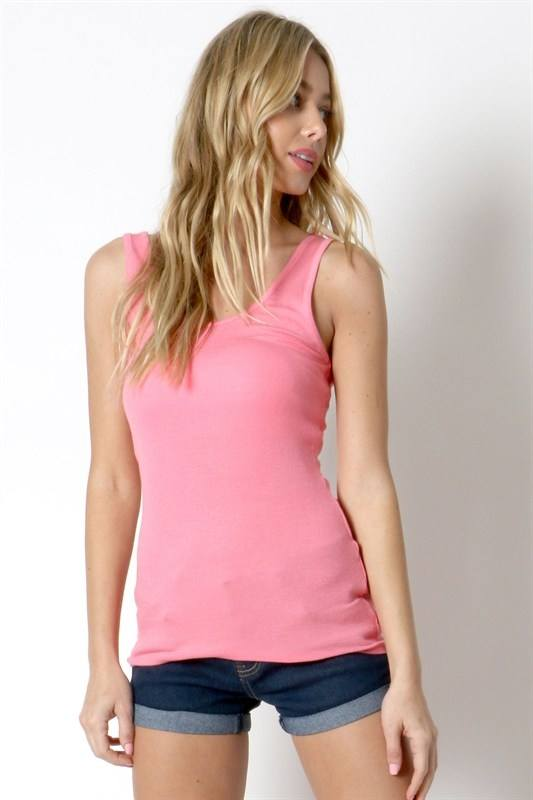 FINAL SALE Zenana Rayon Ribbed Double Scoop Tank RT-9486