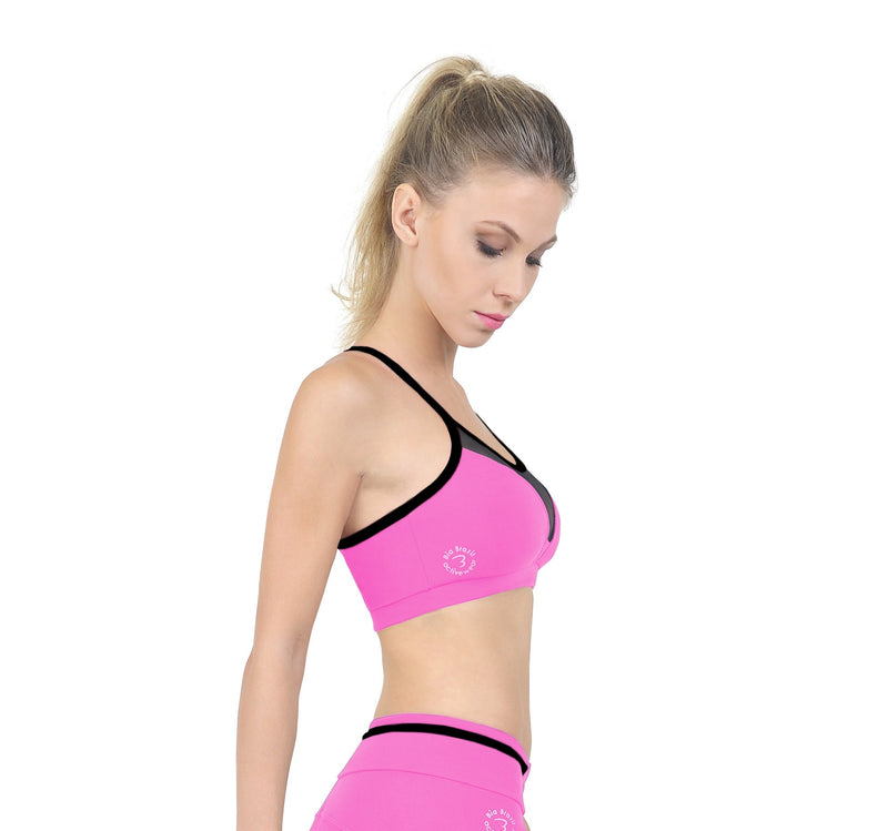 Bia Brazil Padded Y Back Bra With Mesh BT3363 Bubble Gum pink/Black