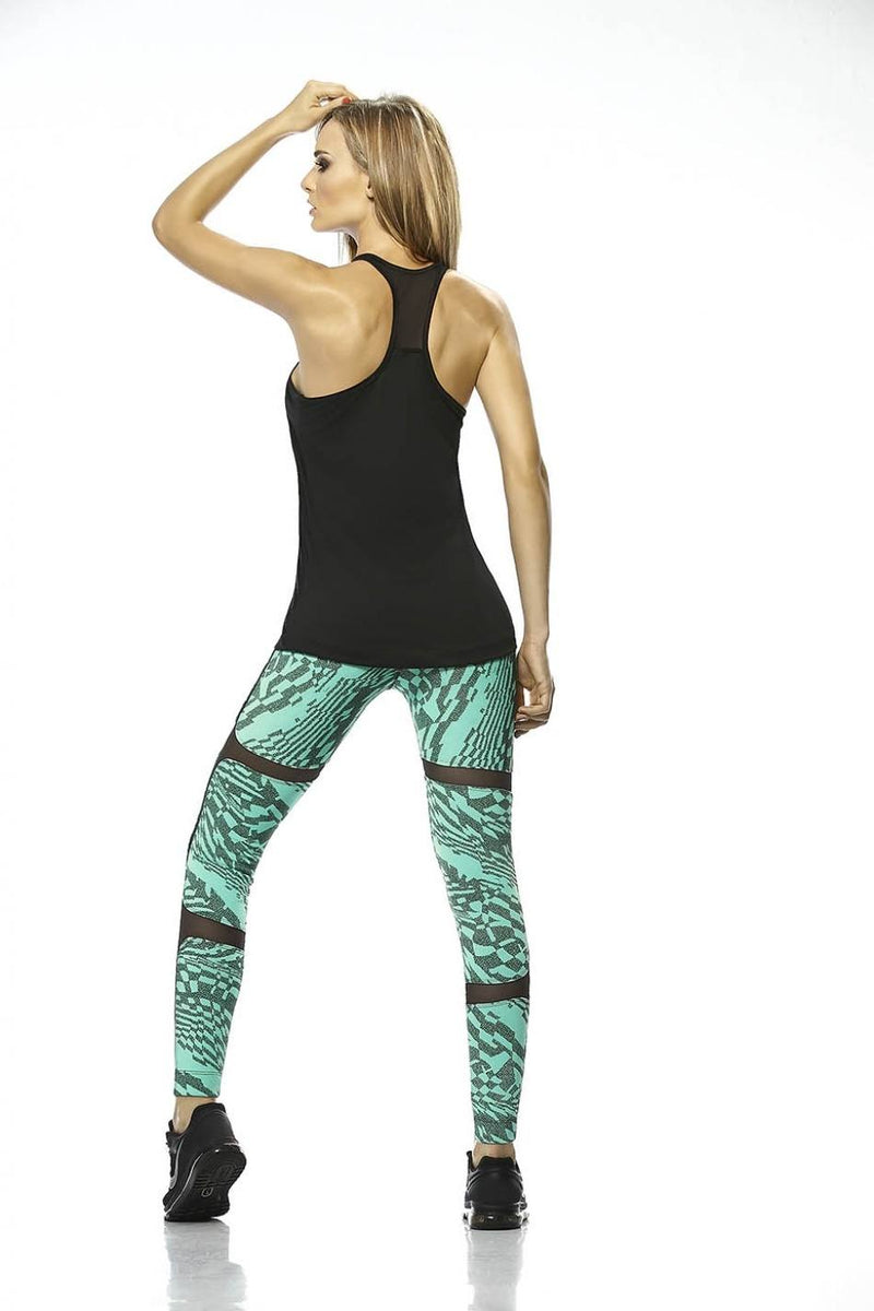 Final Sale Babalu Style Textured Legging with Mesh Inset 35863 Jade