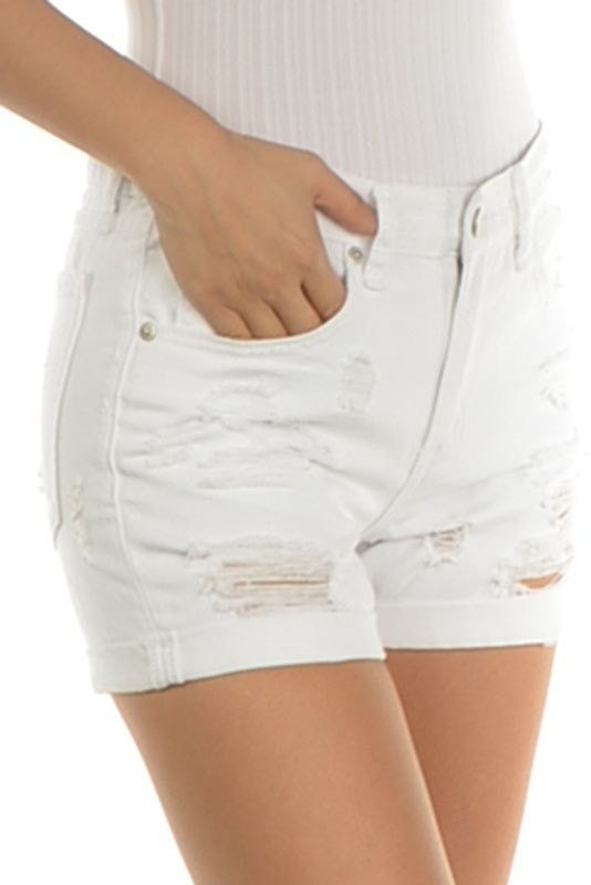 Signature 8 Cuffed Shredded White Denim Short IP388W