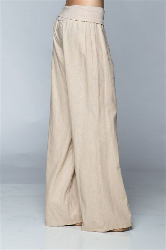 Love Tree Fold Over Linen Pants 093200 Taupe