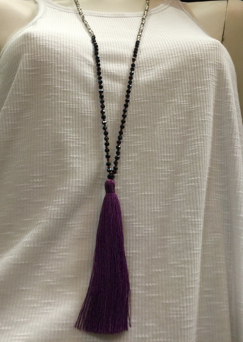Tri Color Tassel Necklace