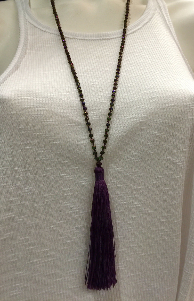 Simple Crystal Tassel Necklace
