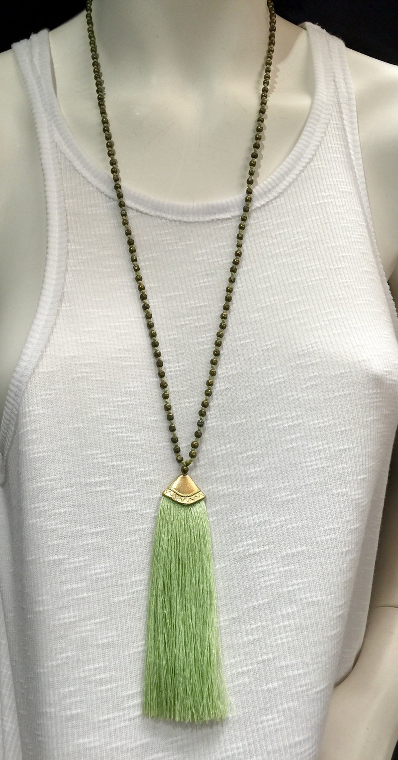 Brass Beads Tassel Necklace