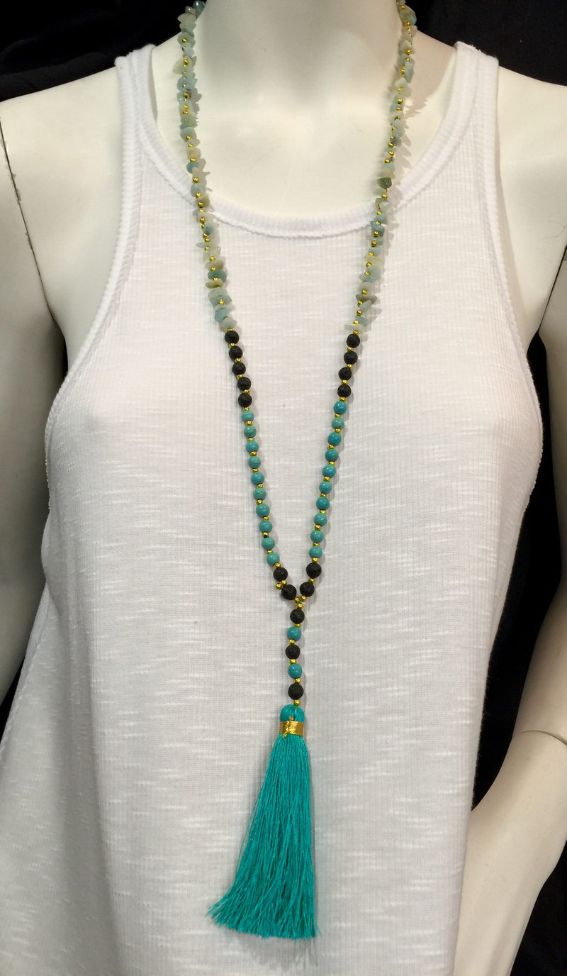 Lava Rock Stone Chips Tassel Necklace
