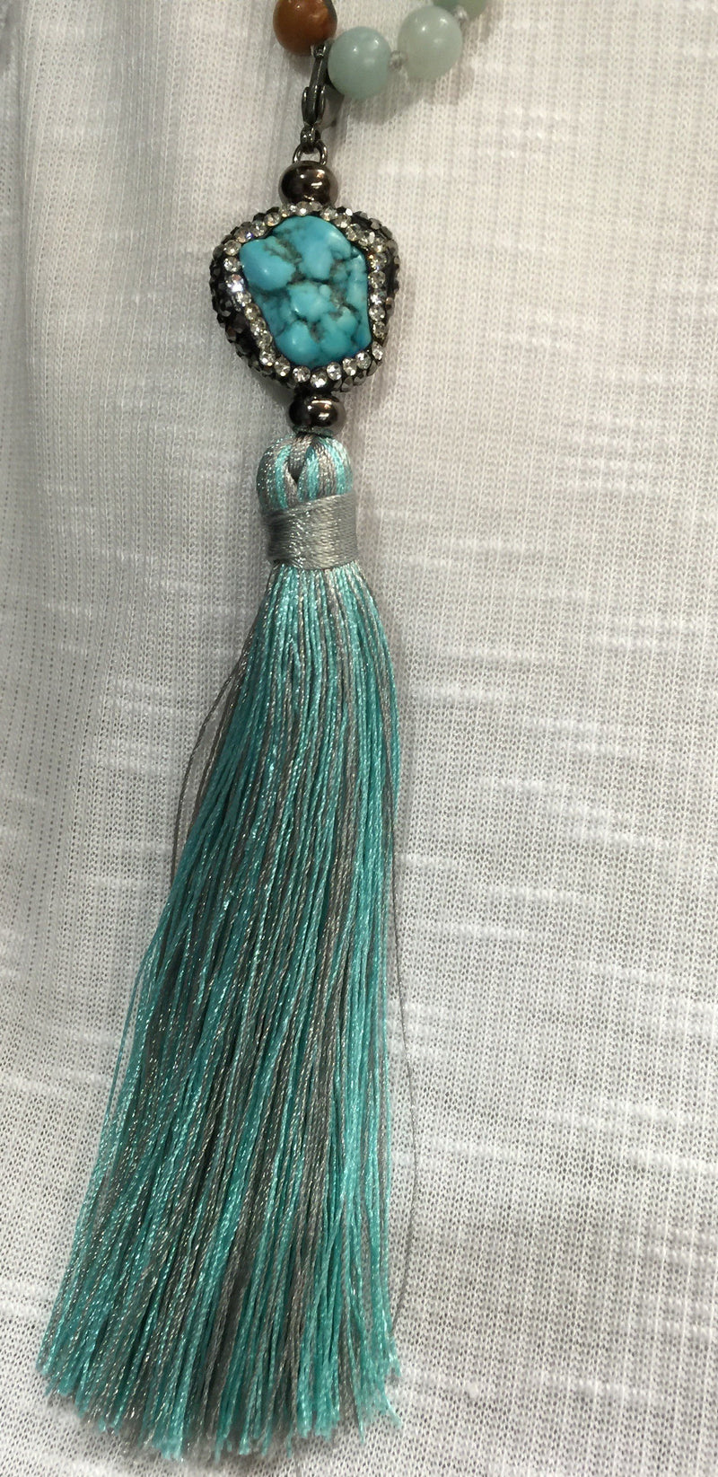 Blue Agate and Turquoise Long Tassel Necklace