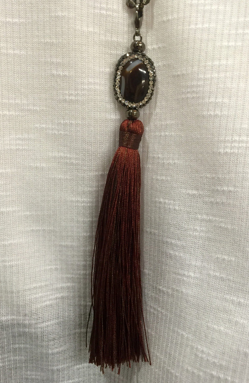 Agate and Crystal Long Tassel Necklace