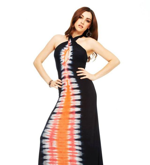 E-Motions Halter Maxi Dress Black Orange Tie Dye