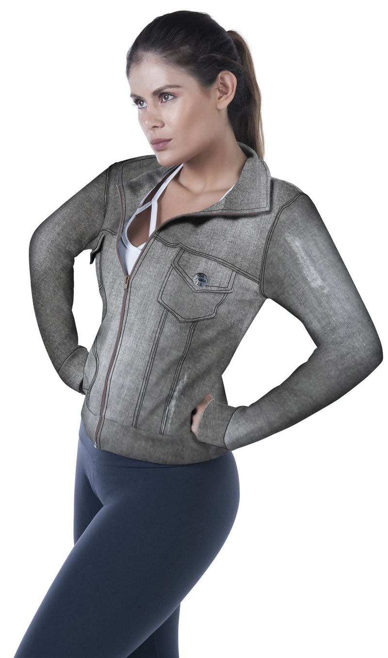 Bia Brazil Activewear Jean Jacket JA2561 Charcoal Denim