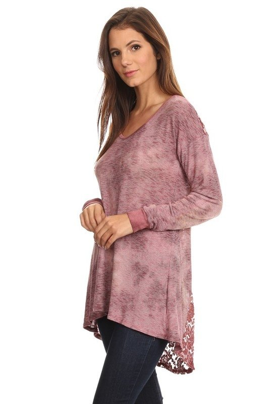 Final Sale T-Party Lace Back Tunic PRB39934 Burgundy