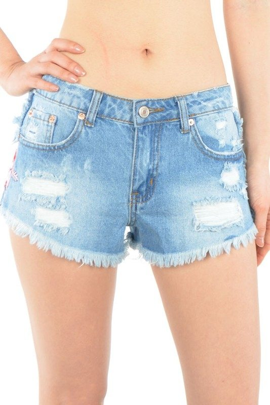 Signature 8 Cut Off Denim Shorts With Floral Patches S8111