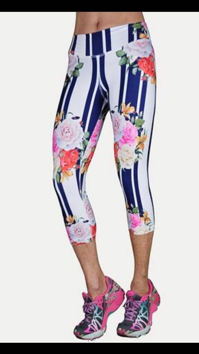 FINAL SALE! Stripes and Flowers Capri By Shape Up Activewear