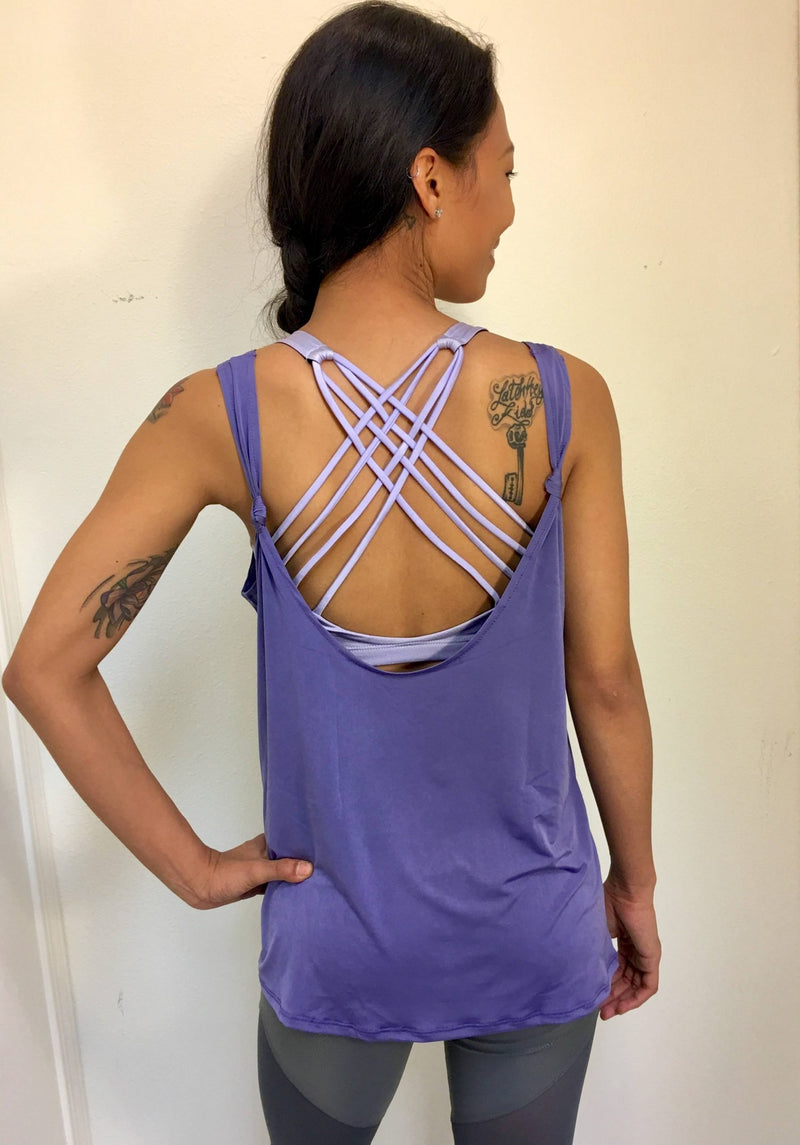 Final Sale! Onzie Hot Yoga Loose Knot Tank 352 Lavender