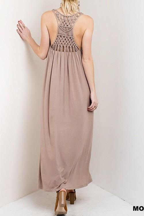 Maxi Dress With Back Detailing 507-AT800257 Mocha
