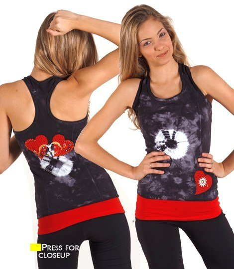Margarita Activewear Hearts and Studs Long Top 51091