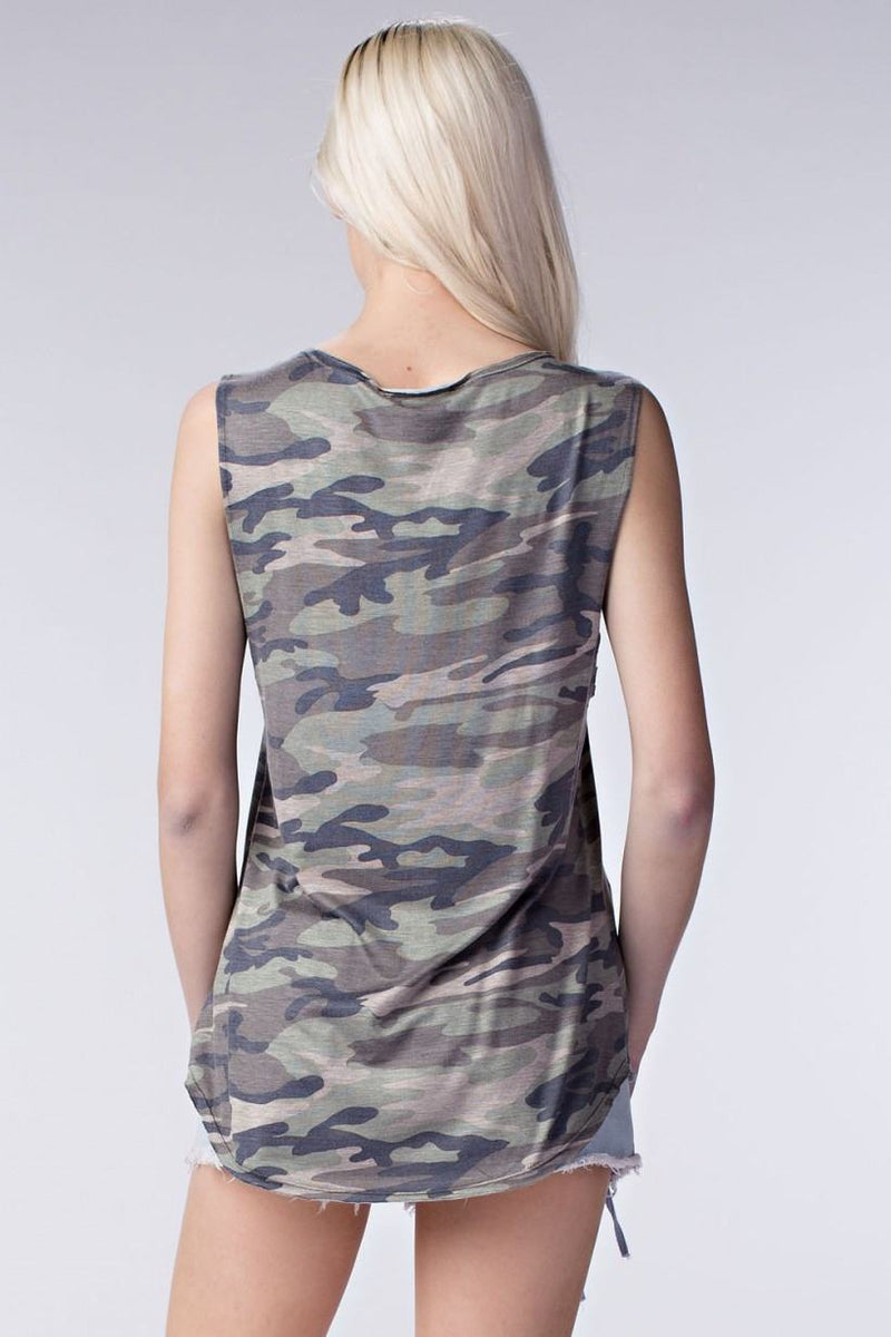 Honey Punch Camoflauge Mescle Tee 7T0321A