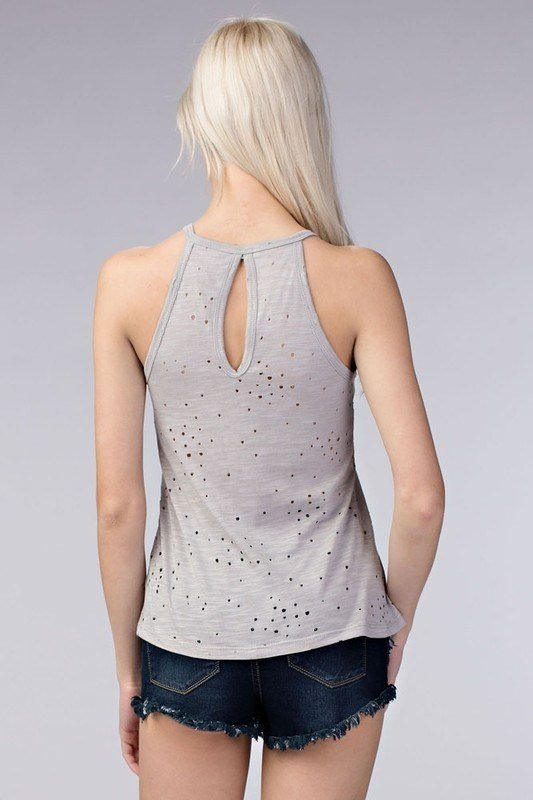 Final Sale Honey Punch Distressed Halter Tank White 7T0264RB