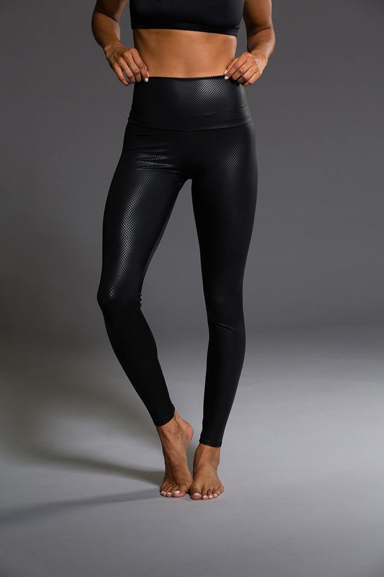 Onzie Hot Yoga High Rise Legging 228 Black Fishnet