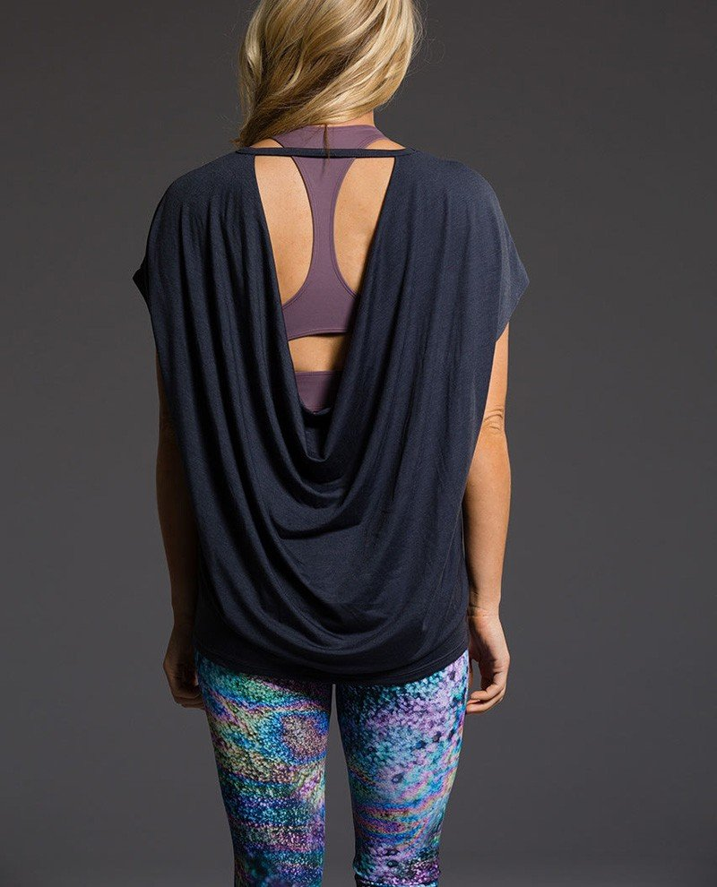 Onzie Hot Yoga Wear Drop Back Top 3056 - Midnight - rear view