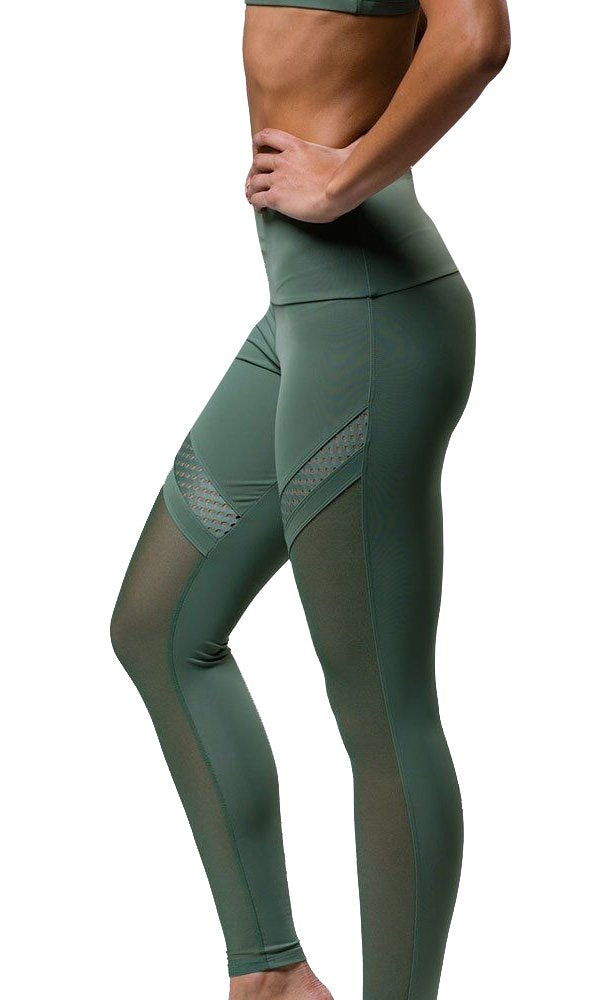 Final Sale Onzie Chrome Legging 2078 - Sage - side view