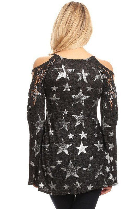T-Party Metallic Star Cold Shoulder Top HSPR38098