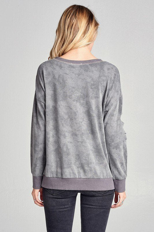 Final Sale Oddi Mineral Wash Sweatshirt with Cutouts IT20408