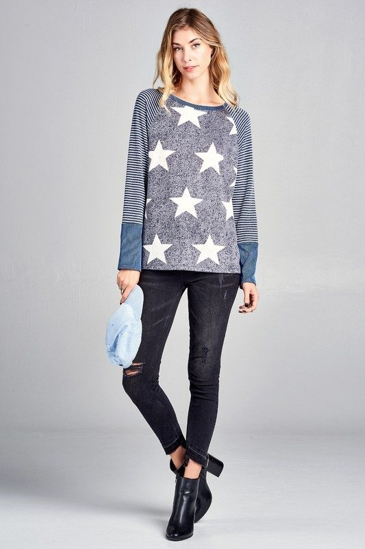 Oddi Star Print Top With Stripped Sleeve T61899