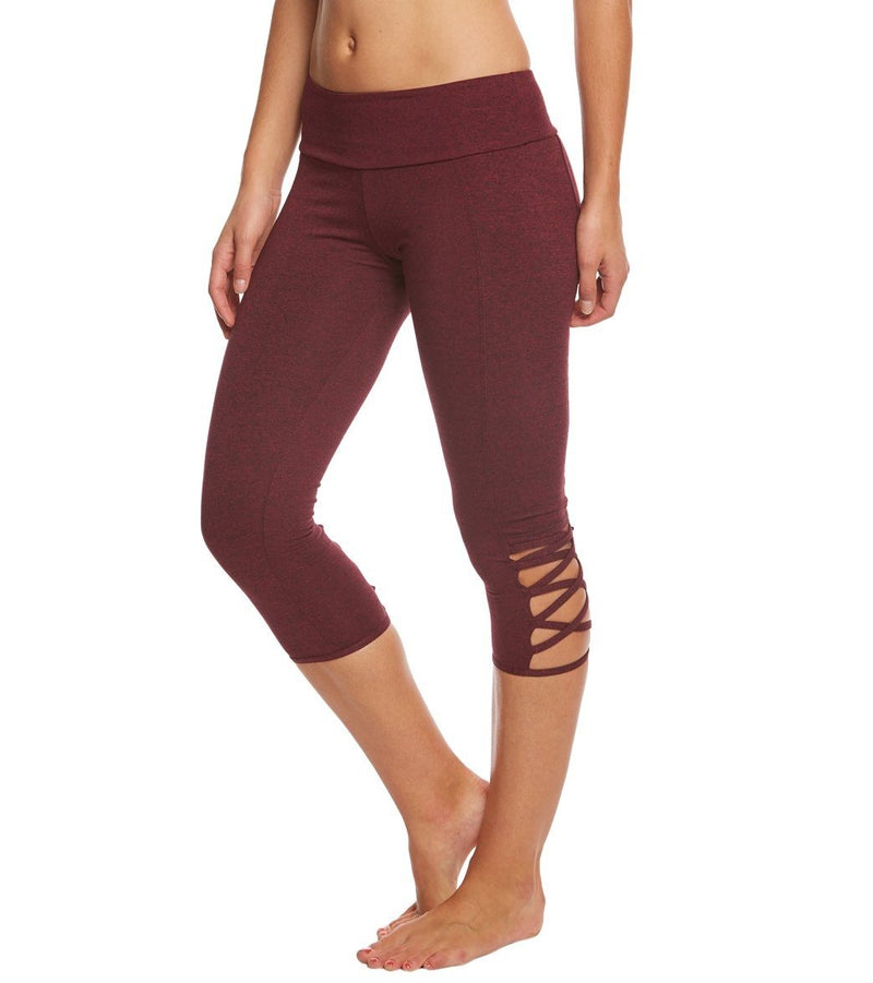 Onzie Hot Yoga Weave Capri 289 - Burgundy - side view