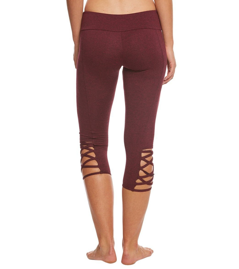 Onzie Hot Yoga Weave Capri 289 - Burgundy - rear view