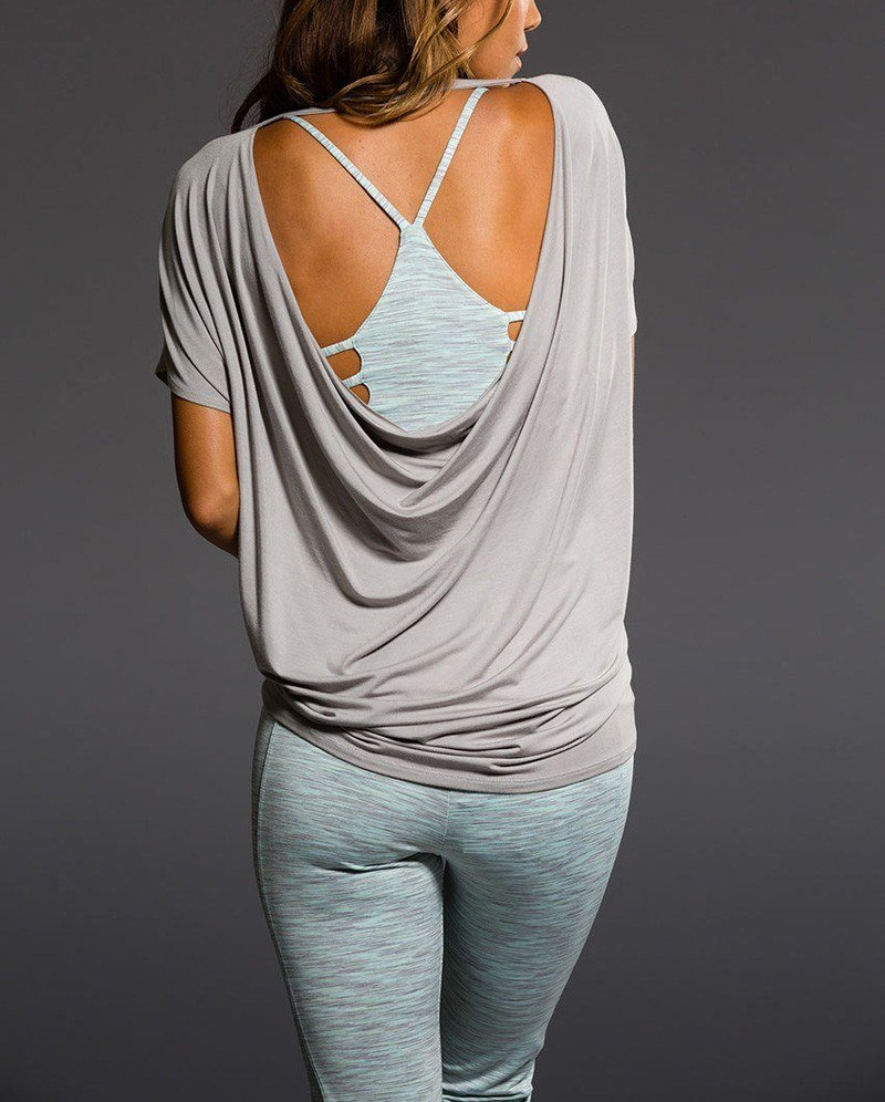 Onzie Hot Yoga Wear Drop Back Top 3056 - Sand - rear view