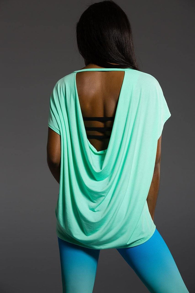 Onzie Hot Yoga Wear Drop Back Top 3056 - Jade - rear view