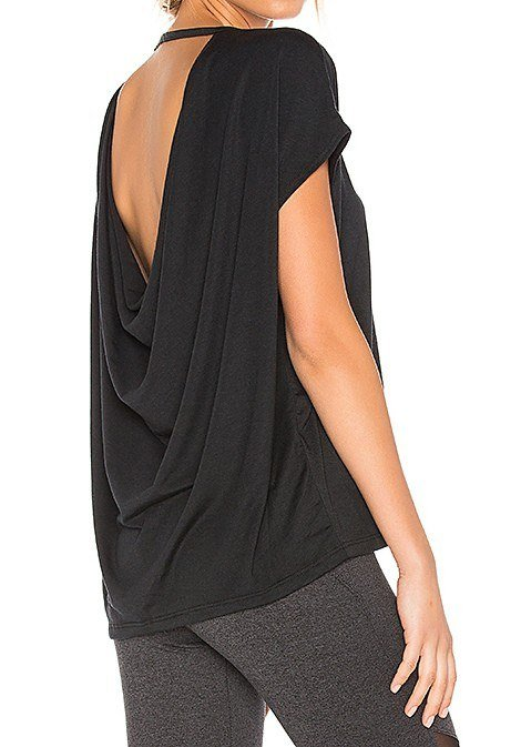 Onzie Hot Yoga Wear Drop Back Top 3056 - Black - side view