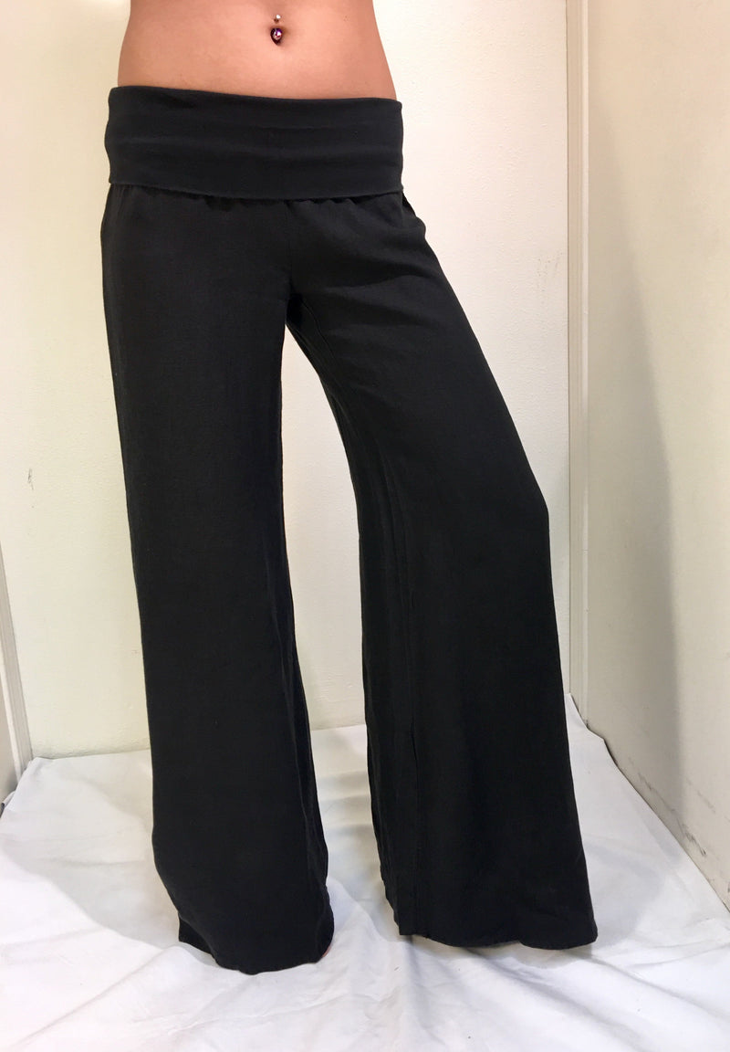 Yogi Wide Leg Rollover Linen Pants Black
